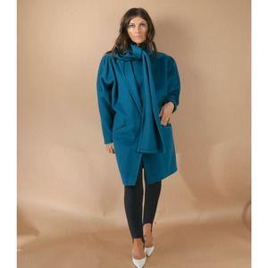 Vintage Emerald Green Bow Neckline Long Sleeve Knee Length Coat Unbranded Size L